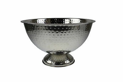 Round Stainless Steel Hammered Champagne Wine Cooler Ice Cooling Bucket Party