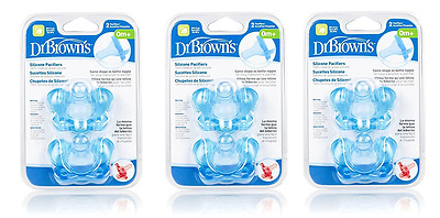 Dr. Browns Pacifiers, Silicone, Shape As Bottle Nipple, 0M+, Blue, 2 Ct (3 Pack)