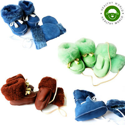 WOW! Baby SHEEPSKIN Slippers + Gloves, LEATHER Boots,Girls,Boys, Newborn-2 years