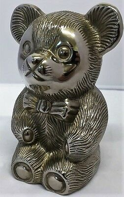Vintage Silver Plated Teddy Bear Money Box - Good Condition
