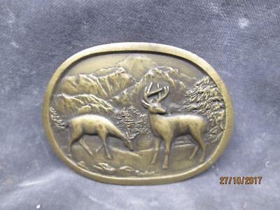 Vintage Indiana Metal Craft Brass Belt Buckle With Deers & Mountains