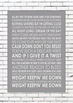 ALL MY LIFE - FOO FIGHTERS Typography Lyrics  Wall Art Print Poster A4