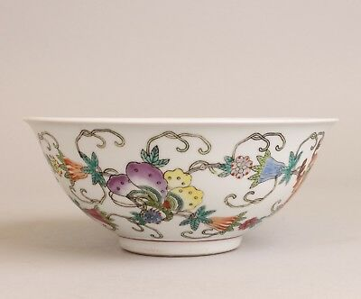 Decorative Vintage Chinese Porcelain Famille Rose Butterfly Bowl 18.5 cm / 7,4""