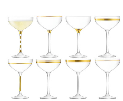 NEW LSA CHAMPAGNE SAUCER 235ml SET OF 8 GLASSES BARWARE MOUTH BLOWN GLASSNWARE