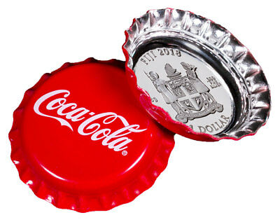 2018 Fiji Coca-Cola Bottle Cap-Shaped 6g Silver Colorized Proof $1 Coin SKU50357