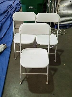 100 Used Plastic Folding Chairs White Party Rental Chair No Shipping Bulk disc.