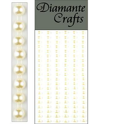 120 x 5mm Ivory Pearl Self Adhesive Strips Rows Rhinestone Body Vajazzle Gems