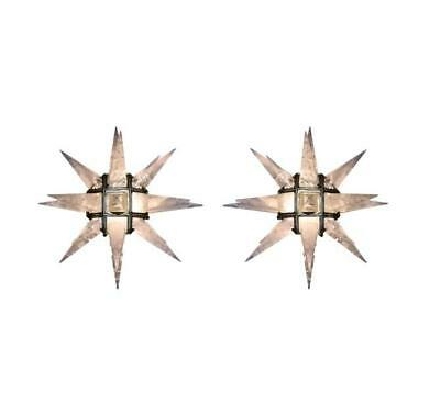 Pair of Quartz Star Sconces With Nickel Plated Frame