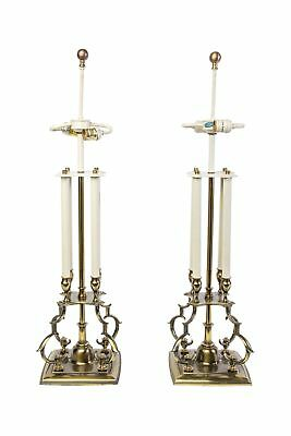 Pair Of Mid-Century Modernist Stiffel Brass Candlestick Table Lamps In The Manne