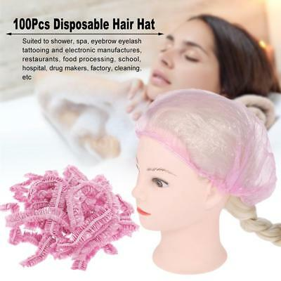 100pcs Disposable Hair Hat Net Plastic Anti Dust Spray Tanning Head Cover W7A3