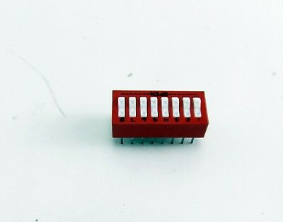 Electronic Component Red Dip Switch 8 Position Rocker Type (New) Lot of 35