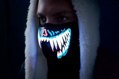LED Rave Party Face Mask Equalizer Flashing by Music Luminous Cosplay Dance DJ