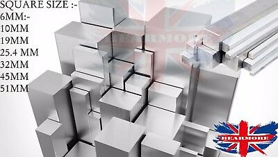 Solid Aluminium Aluminum Square Bar Rod Section Raw Material Various Lengths