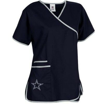 Dallas Cowboys Mock Wrap Scrubs Top (New)