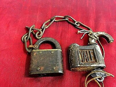 Antique Padlock Yale Lot of 2 Bronze and steel Antique Yale padlocks