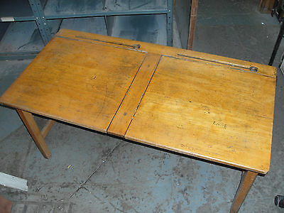 Vintage Wooden School Desk double with ink wells.