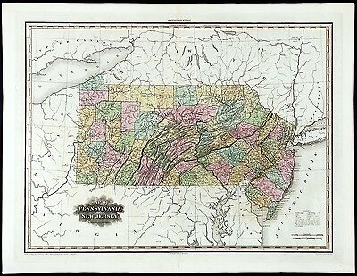 HS TANNER Antq & Ext-Rare Early 19thC 1823 MAP OF PENNSYLVANIA AND NEW JERSEY