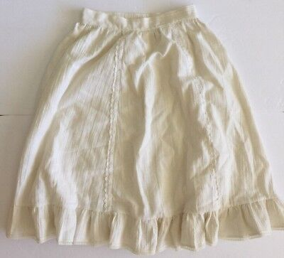 Vintage 1970's Hand Made Skirt Ivory Size 8 Cotton Skirt Lace Accent
