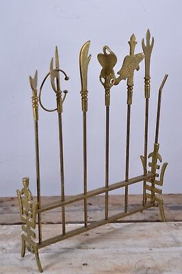 Vintage Solid Brass BBQ Grill Meat Kebab Skewers & Stand Set