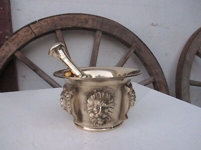 Vintage In Brass Large Mortar And Pestle Beautiful Ornate With 4 Lion Heads