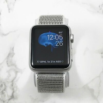 Apple Watch Gen 1 Series 7000 38mm Silver Aluminum With Silver Nylon Loop