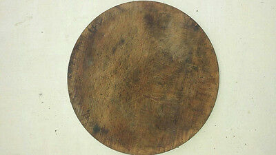 Rare Old Antique Authentic Primitive Hand Carved Wooden Treenware Round Plate