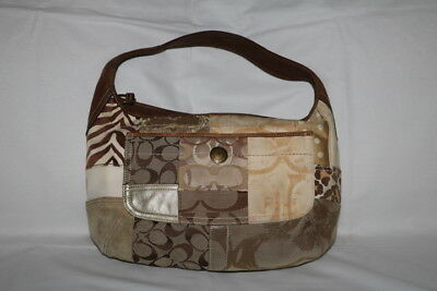 Women's Coach Brown/Tan/Cream Canvas Patchwork and Leather Handbag/Purse