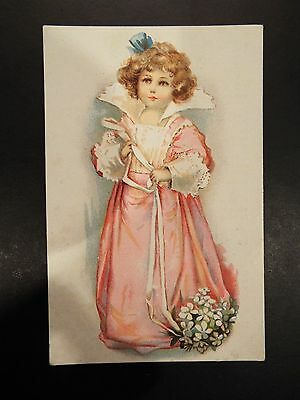 Lion's Coffee Girl in Pink Dress Victorian Trade Card-