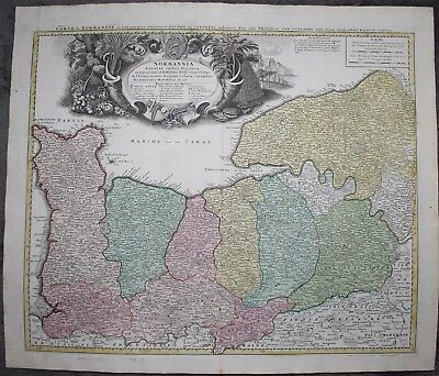 Original 1735 Map of Normandy France by Homann Heirs