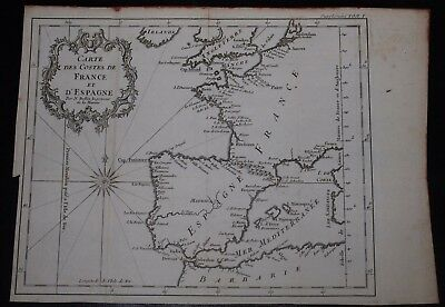 Original Map of France from 1755 by Bellin