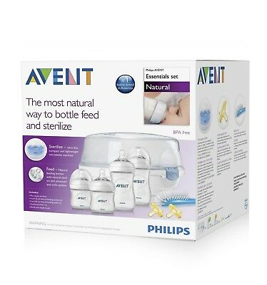 Philips Avent Natural Essentials Baby Bottle Set +Brush Sterilizer + 2 Pacifiers
