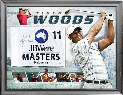 Tiger Woods Hand Signed Framed Melbourne Masters Golf Flag Limited Edition Scott