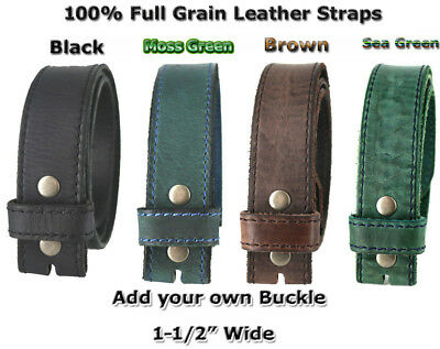 """New One Piece 100% Full Grain Leather Belt Straps 1 1/2"""" Wide Four Colors Nwt"""