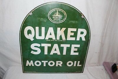 "Vintage 1958 Quaker State Motor Oil Gas Station 2 Sided 29"" Metal Sign"