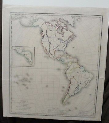 Original 1827 Teacher's Map of North and South America