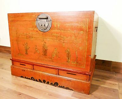 Antique Chinese Trunk (5590), Hand Painted Red Lacquer , Circa 1800-1849