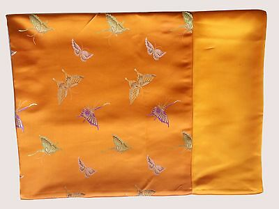Custom-Made in USA, Art Silk Throw or Bed Scarf, Gold (6103)