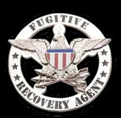 Fugitive Recovery Agent Badge in Gold or Silver with clip on badge holder.