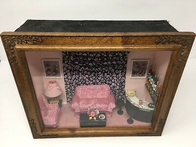 Vintage Shadow Box/Diorama Apartment Scene 60's Cool Chic's Hangout Folk Art