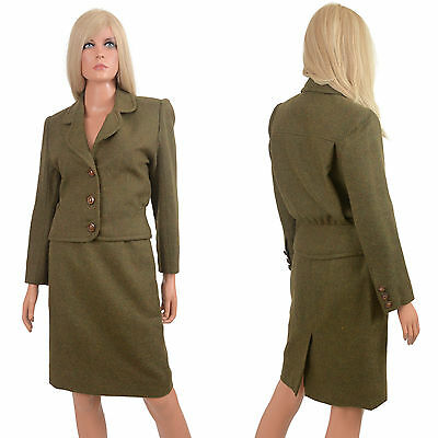 Vintage 60s SKIRT SUIT Olive Green Wool Pencil Wiggle Mini 2 pc Narron by Lynda