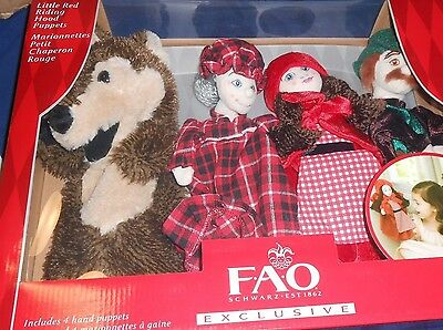 FAO SCHWARZ LITTLE RED RIDING HOOD PUPPETS Retired No Longer Sold Last One L@@K