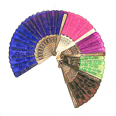 Ladies Embroidered Folding Hand Held Fan Parties Dancing Costumes - A225