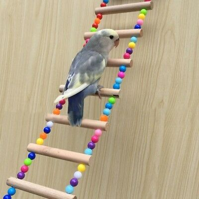 Natural Wood Birds Parrots Pets Ladders Climbing Toy Hanging Colorful Balls