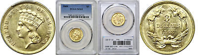 1868 $3 Gold Coin PCGS MS-61