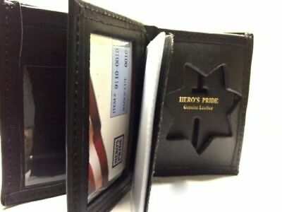 CDCR Corrections Officer Bi Fold Black Leather Sheriff 7 Point Star Badge Wallet
