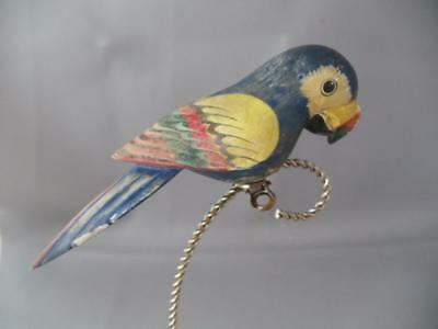 Antique Shabby Vtg Chic Hand Made Painted Carved Wood Parrot Bird Xmas Ornament