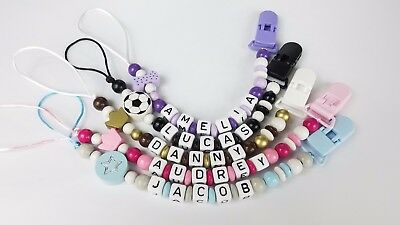 Pacifier clip Personalized binky holder Baby name gift Custom made dummy chain