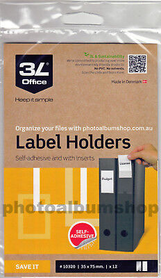 3L Self-Adhesive Label Holders 35mm x 75mm (pack of 12) for book & binder spines