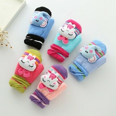 Cute Cartoon Kid Gloves Cold Winter Warm Knitted Velvet With Strip Children Hot