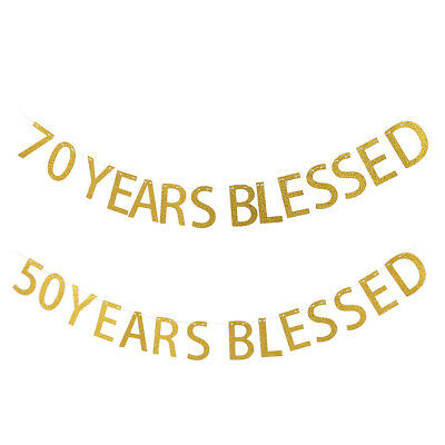 50/70 Years Blessed Gold Hanging Banner 50/70th Birthday Anniversary Party Sign